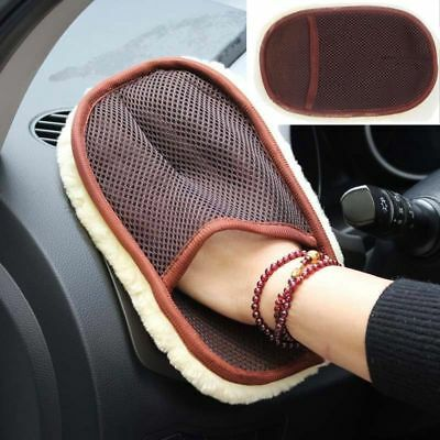 Soft Coffee Car Washing Glove Cleaning Brush Polishing Mitten Wool