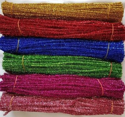 "100x Tinsel Glitter CRAFT Stems PIPE CLEANERS 12"" 30cm MULTI COLOURS, 100 pack"