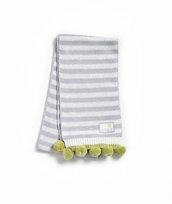 Natures Purest Organic Cotton Striped Pom Pom Scarf  (0172)