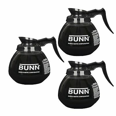 BUNN 5850 Commercial Glass Decanter 12 cup 64 oz Black Coffee Pot - 3 Pack