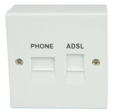 ADSL 2  BROADBAND FACEPLATE FILTER SPLITTER FOR BT TYPE mini  SOCKET+BACK  BOX