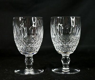 "Set of 2 Waterford Crystal Cut Glass COLLEEN 4-3/4"" Short Stem Water Goblets"