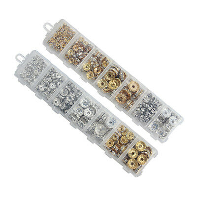 1Box/lot Mix 6 8 10 12 mm Dia Gold/Silver Plated Metal Rondelle Spacer Beads ...