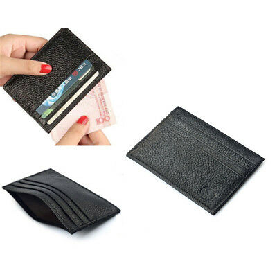 Men's Womens Leather Slim Small Credit Card Id Wallet Holder Pocket Case Fast US