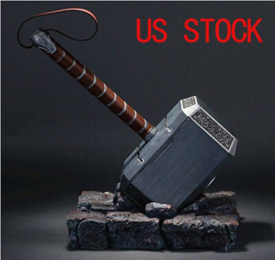 1:1 Full Solid Avengers Thor Hammer Resin Base Halloween Cosplay Props US Seller