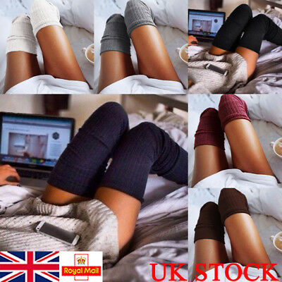 UK Women High Socks Over The Knee Long Plain Thick Thigh Stretch Adult Stocking