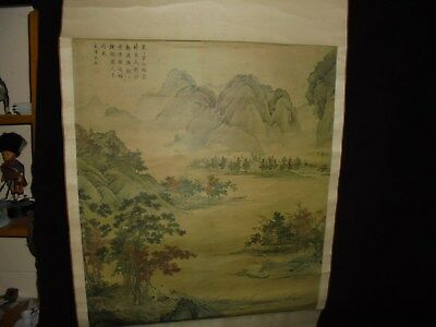 """Vintage Chinese Scroll Mountains Signed Teak Handles 68"""" Length"""