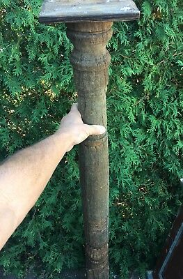 LARGEAntique Carved Turned Wood Victorian NEWEL POST Stand Architectural Salvage