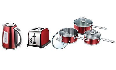 Set of: Saucepan Set, Toaster and Kettle, Stainless Steel (Red)