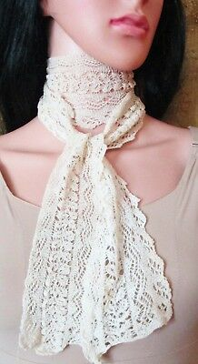 Antique Handmade Knitted Lace Long Scarf Lappets
