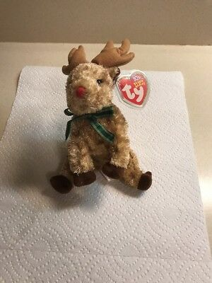 TY Beanie Babies RUDY the Red Nosed Reindeer MWMTs Christmas