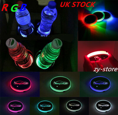 Solar Cup RGB Holder Bottom Pad Cover Trim Atmosphere Light Lamp For All Car