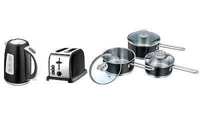 Set of Electric Kettle, Toaster & 3 Saucepans, Stainless Steel - Black