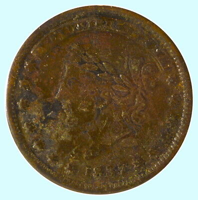 "1837 Hard Times Token - Not One Cent ""Millions for Defence"""