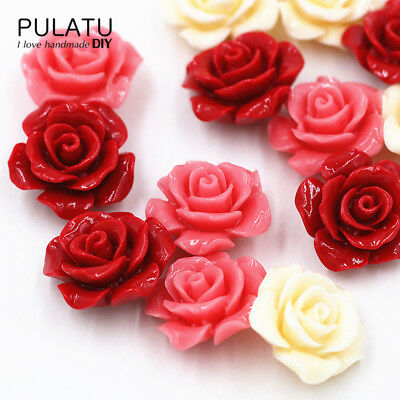 10 pcs/lot Rose Flower Natural Stone Beads for Jewelry Making Coral Material ...