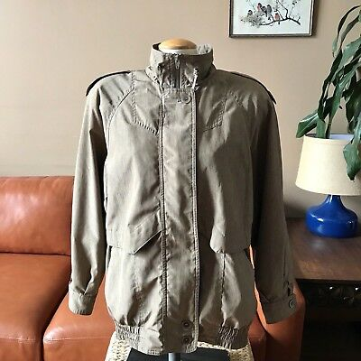 Vtg Utex 80s Trench Trooper Bomber Jacket Boxy Batwing Oversized Womens M Green