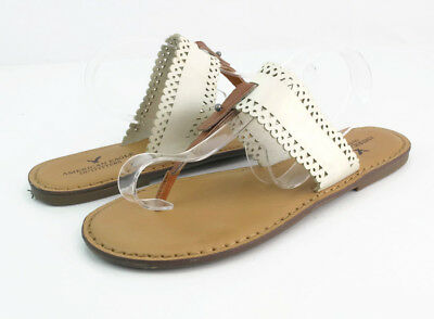 1c9348378 American Eagle Outfitters Women s Brown White Leather Thong Flip Flop  Sandals 8