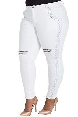3baf02e3ea1 Poetic Justice Curvy Fit Women s Plus Size Tribal Embroidery White Skinny  Jeans