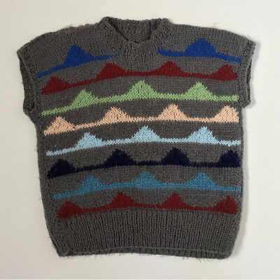 Vintage 80s Hand Knitted Geometric Sweater Child Vest Unisex 6 7 8 Yrs FREE SHIP