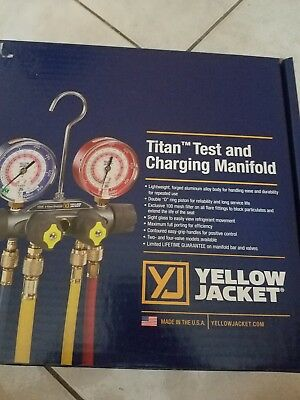 Yellow Jacket 49967 Titan 4-Valve Test and Charging Manifold , 60 inch hoses