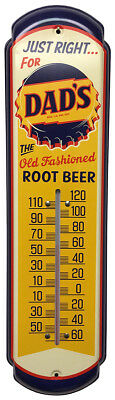 DAD'S Root Beer Soda Thermometer Vintage Old Style Bottle Cap Sign