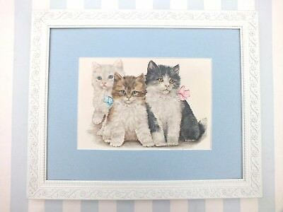 Very Sweet*1950s*Framed Vintage*3 Cats*Kittens*Bows*Grace Lopez*A. Kaplan Litho*