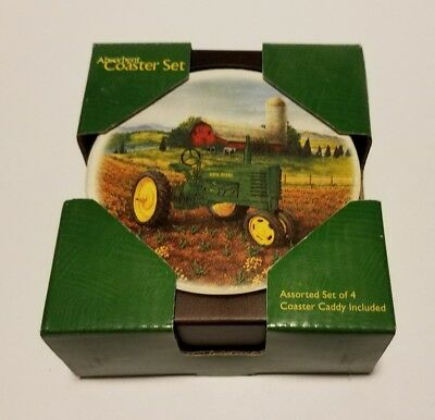 John Deere Licensed 4 Absorbent Coasters Nature Stone Cork Backing Evergreen