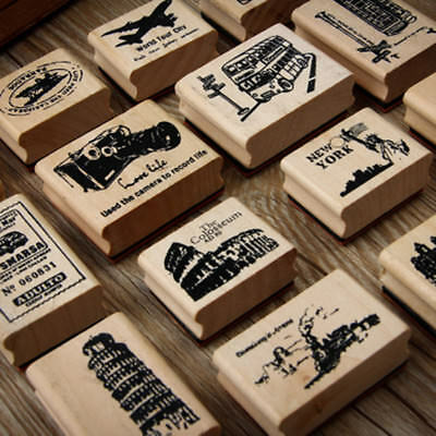 21 Types Vintage Creative Stamp DIY Wooden Stamps Stationery Scrapbooking Stamp