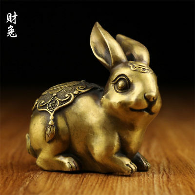 127mm Chinese old antique brass statue hand made lucky Chinese Zodiac rabbit