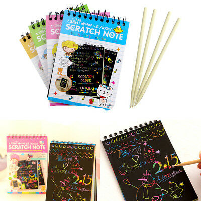 Creative DIY Black Cardboard Draw Sketch Notes Kids Toys Notebook School Supply