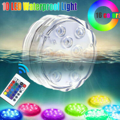 Multicolor 10 LED RGB Underwater Waterproof Vase Light With Remote Control