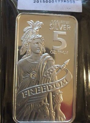Statue of Freedom 5 Troy oz. .999 Fine Prooflike Silver Bar