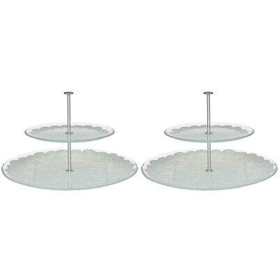 2pc Davis & Waddell 2 Tier Glass Tray Serving Platter/Food Stand Display/Cupcake