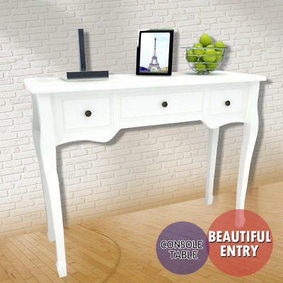 Shabby Chic with 3 Drawers White Console Hall Table Side End Dressing Desk Home