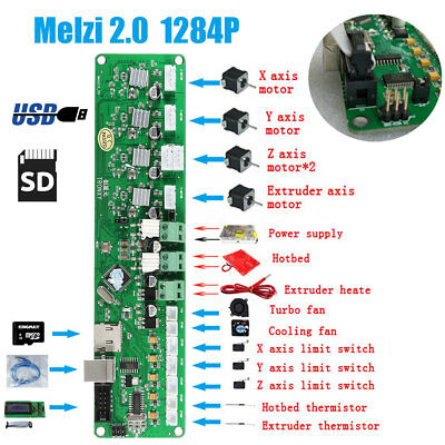 Motherboard 3D Printer Controller PCB Board USB For Tronxy Mainboard Melzi 2.0 ※