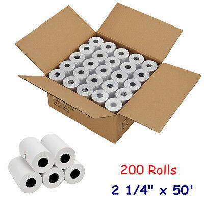 "200 Roll 2 1/4"" x 50' Thermal Receipt Paper Verifone Vx520 Ingenico ICT220 FD400"