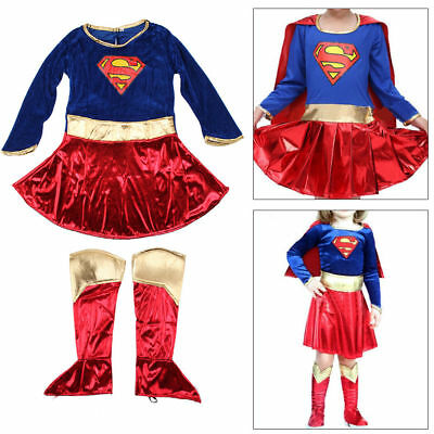 Kid Girls Fancy Dress Superhero Supergirl Costume Party Outfit Cover Book Day UK
