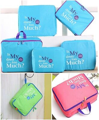Travel Luggage Organiser Packing Cubes Storage Pouch Clothes Suitcase 5pcs Set