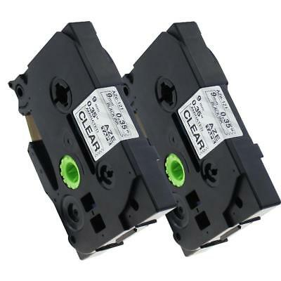 TZe121 TZe-121 Compatible for Brother P-touch Label Tape Cartridge 9mm 2pk
