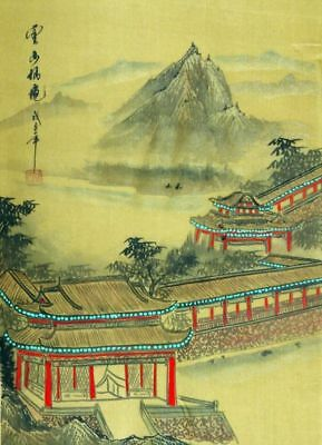 """Chinese silk painting landscape 15x11"""" Oriental brush ink traditional gongbi art"""