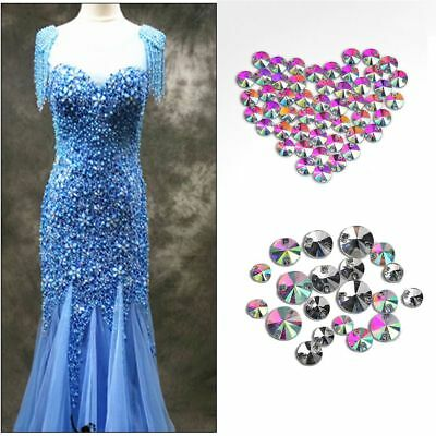 50pcs Color Crystal AB Sew On Beads Stones Rhinestone Buttons Clothing Jewelry