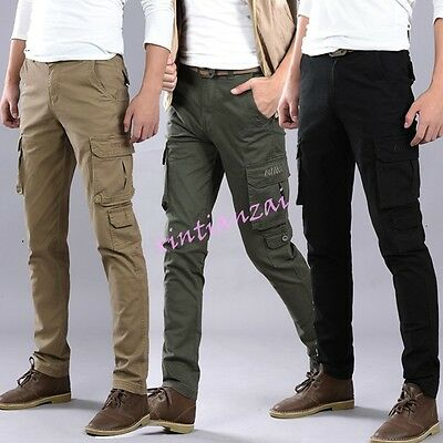 2018 Hot Mens cotton casual Skinny Military encil cargo overalls Trousers Pants