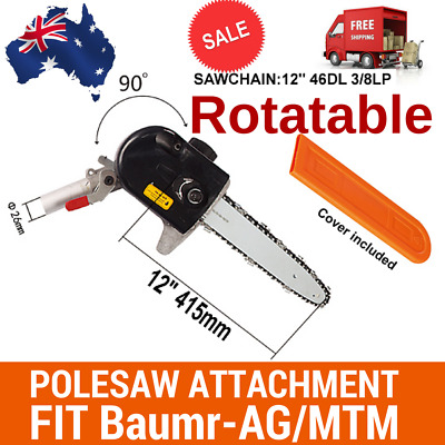ROTATABLE POLESAW CHAINSAW HEAD W/BAR+CHAIN BRUSHCUTTER FOR Baumr-AG MTM