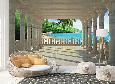 Wall Mural Photo Wallpaper Picture EASY-INSTALL Fleece 3D Beach Tropical View