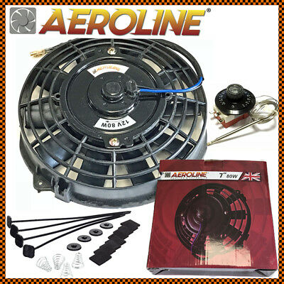 "7"" Inch Aeroline® Electric Radiator Intercooler Cooling Fan + Thermostat Control"