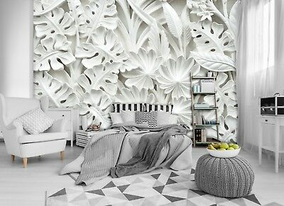 Wall Mural Photo Wallpaper Picture EASY-INSTALL Fleece Alabaster Flowers Relief