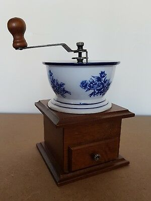 Vintage Manual Coffee Beans Grinder Wooden And Ceramic