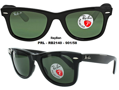 Ray-Ban RB2140 901/58 Wayfarer Classic Black/Natural Green Lite Polarized