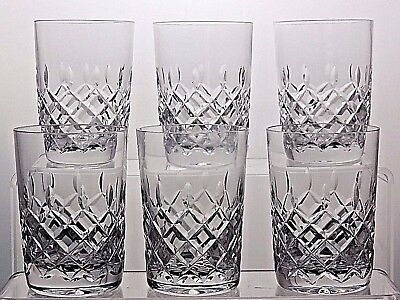 Stunning Cut Glass Crystal Flat Juice Tumblers / Glasses Set Of 6