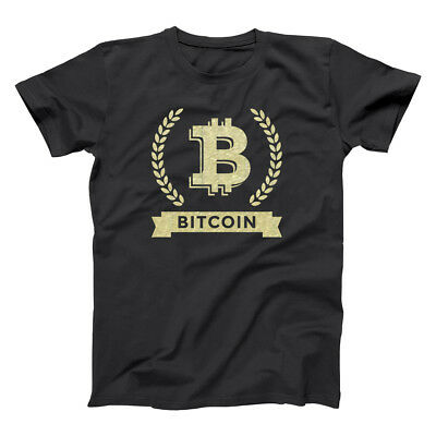Bitcoin Cryptocurrency Coins Top  Gold  Mining Black Basic Men's T-Shirt